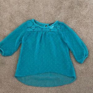 One step up turquoise 3 quarter sleeve top